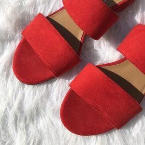 Franco Sarto Red Slide Silas Sandals
